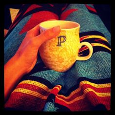 Coffee cup from Anthropology and Aztec blanket.  Good Mornin' Austin!