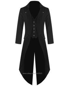 Banned Mens Steampunk Tailcoat Jacket Black Gothic Victorian Coat #Handmade…