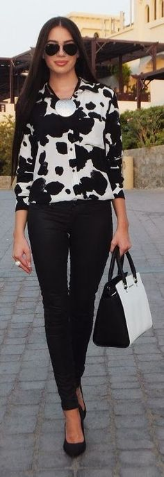 Cow Print Blouse Chic Style by Laura Badura Fashion
