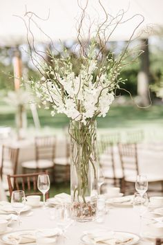 Tall Glass Cylinder with Curly Willow and Dendrobium Orchids