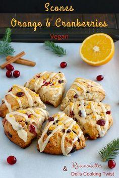 Rosenoisettes: Scones vegan à l'orange & cranberries - Avec Del's Cooking Twist