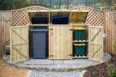 Disguise your wheelie bins with our range of high quality double wheelie bin storage units. Made in the UK from pressure treated timber. Hide away 2 wheelie bins today. Recycling Storage, Shed Storage, Storage Bins, Bin Storage Ideas Wheelie, Storage Containers, Recycling Containers, Tool Storage, Storage Chest, Garbage Can Storage