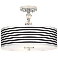 "Black Horizontal Stripe 16"" Wide Semi-Flush Ceiling Light - #N7956-P9834 | LampsPlus.com"