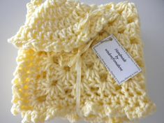 Crochet Baby Blanket Yellow Granny Square Soft by wisdomfromabove, $35.00