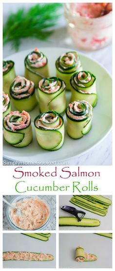 Smoked salmon cream cheese spread rolled up in thinly sliced cucumber. An easy yet elegant appetizer. Smoked salmon cream cheese spread rolled up in thinly sliced cucumber. An easy yet elegant appetizer. Elegant Appetizers, Appetizers For Party, Appetizer Recipes, Appetizer Ideas, Halloween Appetizers, Cold Appetizers, Party Snacks, Tea Party Foods, Nibbles Ideas