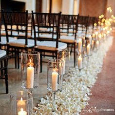 This ceremony decor is so chic! Our Campanile Chapel is such a romantic space; especially when lit by candlelight! Thanks Fernando Weberich Photography for sharing!