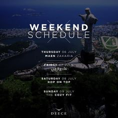 Our #schedule for the #weekend #Deece Thursday 06 July: Maen Zakaria Friday 07 July: عل برازيلي Saturday 08 July: Hop On Top Sunday 09 July: Cozy Fit Reserve on 70109010.  #Deece #HopOnTop