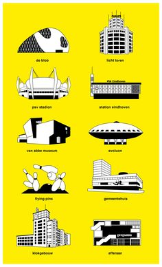 Landmark Buildings in Eindhoven, The Netherlands Visit Amsterdam, Amsterdam Travel, Eindhoven Netherlands, Voyage Rome, Great Place To Work, Tourist Map, Adventure Is Out There, Rotterdam, Travel Posters