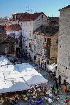 Piazza cafe in Trogir, Croatia