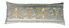 17th C. Distressed Gold metallic Applique. by B Viz.  Stunning.  The most gorgeous pillows ever.  Works of art.