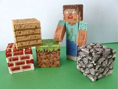 Minecraft made from Plastic Canvas by Sister Diane