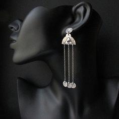 silver earrings by Fiann - The warm breeze   silver, amethysts  #earrings #long #fiann #unique #art #jewelry #handmade