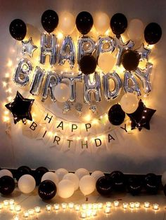 Birthday party decoration romantic balloon candle lantern room hotel KTV layout supplies balloon package romantic birthday layout happy birthday decoration male and female friends birthday gift luxury adult black and white balloon package - - Birthday Goals, Birthday Party For Teens, Birthday Party Themes, 25th Birthday Ideas For Him, Birthday Celebration, Birthday Ideas For Girlfriend, Birthday Surprises For Him, Teen Birthday, 50th Birthday Party