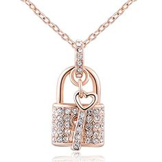 Women Lock & Key Gold Plated Necklace Rose Gold Chain Necklace - http://www.jewelryfashionlife.com/women-lock-key-gold-plated-necklace-rose-gold-chain-necklace/