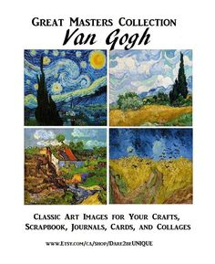 4 Van Gogh PATTERNS for Cross Stitch, Plastic Canvas Needlepoint Tapestry & Rug Hooking Patterns, DIY Masterpiece, Starry Night, Digital Pdf by on Etsy Digital Collage, Collage Art, Digital Art, Van Gogh Landscapes, Van Gogh Art, Rug Hooking Patterns, Cross Stitch Needles, Simple Prints, Cool Paintings