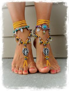 Petroglyph GECKO Lizard BAREFOOT SANDALS Bone beads by GPyoga, $85.00