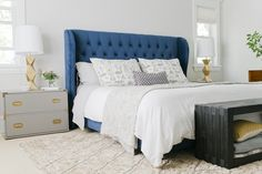 navy blue headboard - Target Brompton Tufted Wingback Bed (resources) I adore this Blue Headboard, Blue Bedding, Velvet Headboard, Velvet Bed, Blue Velvet, Bedding Sets, Home Bedroom, Bedroom Decor, Master Bedrooms
