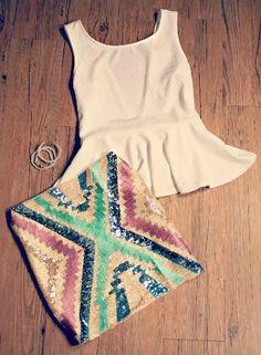 Peplum top + bodycon skirt