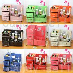 7e57229fbd5 New Wooden Storage Box cosmetics Multifunctional D IY Makeup Organizer Cute  Desk. (Women s jewellery