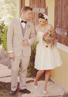 love the bride and groom's retro style in this wedding inspiration shoot