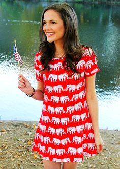 The Monroe Elephant Dress; Elephant Dress, Elephant Pants, Elephant Clothing, Elephant Stuff, Southern Outfits, Preppy Outfits, Tennis Outfits, Shop Red Dress, Dress Red