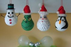 Easy Christmas Light Bulb Decorations and Ornaments Handmade Light Bulb Christmas Ornaments Dont throw those old bulbs away Snowman Grinch Santa and Penguin Christmas Ornament Crafts, Christmas Projects, Christmas Crafts For Kids, Holiday Crafts, Christmas Diy, Summer Crafts, Homemade Christmas, Simple Christmas, Light Bulb Crafts