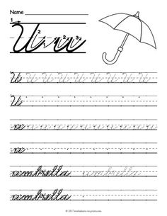 Help kids learn how to write both an uppercase and a lowercase cursive letter u with this fun handwriting worksheet featuring an umbrella. Handwriting Classes, Cursive Handwriting Practice, Improve Your Handwriting, Handwriting Analysis, Handwriting Worksheets, Cursive Abcd, Learning Cursive, Kindergarten Math Worksheets, Preschool Kindergarten