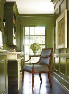 Green - Home Office - Julio Quinones - moldings are gorgeous