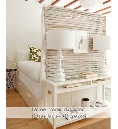 Recycled Lathe Room Divider - DIY Small Apartment Decorating on a Budget - Click for 18 Small Space Tips