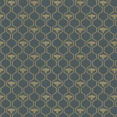 Honey Bees Gold by Barneby Gates - Charcoal / Gold - Wallpaper : Wallpaper Direct Geometric Trellis Wallpaper, Gold Wallpaper Bathroom, Wall Candy, Pretty Room, Painted Boards, Queen Bees, Kitchen Flooring, Designer Wallpaper, Indoor Garden