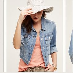 Anthropology Jean Jacket So cute over a flowy dress! Offers are welcome :) Anthropologie Jackets & Coats Jean Jackets