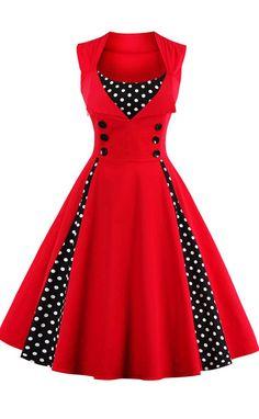 Button Embellished Polka Dot Retro Dress
