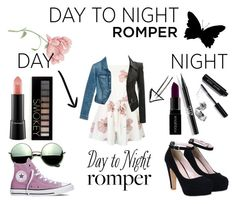 """Day to night Romper"" by ughpeoplegoaway ❤ liked on Polyvore featuring White House Black Market, Bobbi Brown Cosmetics, MAC Cosmetics, Smashbox, Stila, Forever 21, Revo, Converse, DayToNight and romper"