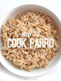 How to Cook Farro – Budget Bytes This short tutorial takes you through the basics of how to cook farro, plus a few facts about this versatile, chewy, and flavorful grain. Farro Recipes, Vegetarian Recipes, Healthy Recipes, Healthy Foods, Millet Recipes, Healthy Eating, Rice Recipes, Recipies, Clean Eating