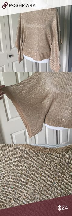 Tan sequined sweater Batwing sleeves. 55% cotton 45% rayon. SS Venus Sweaters