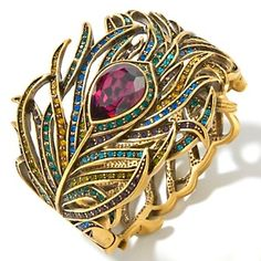 """Wow, love the peacock motif on this bracelet! Heidi Daus """"Pretty as a Peacock"""" Crystal Bangle Bracelet I Love Jewelry, Jewelry Shop, Jewelry Accessories, Fine Jewelry, Jewelry Design, Fashion Jewelry, Gold Jewelry, Peacock Jewelry, Peacock Ring"""