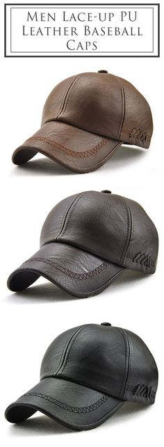 aba4f04c470 Men Lace-up PU Leather Baseball Caps Outdoor Winter Warm Dad Hat Adjustable  Cap