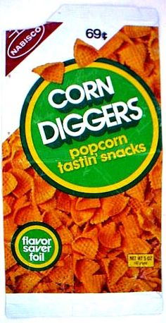 Corn Diggers...I remember these from the late '70s along with Potato Chipsters, Corn Korkers, Mr. Salty pretzels, etc. Loved these.