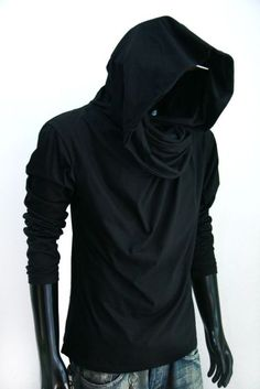 New Men long sleeve turtle cowl neck BLACK HOODIE scarf shirt top S M L XL 2XL