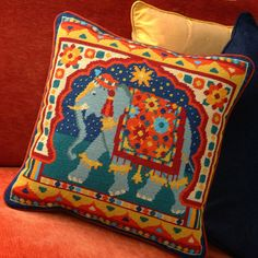 Morani Indian Elephant Printed Needlepoint Canvas, in Rich Tapestry Colors