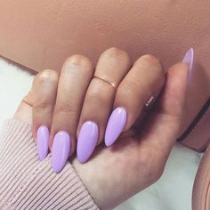 21 Almond Nail Ideas For Your Next Manicure - Wild About Beauty Lavender almond shaped nails - Easy Nail Designs Almond Acrylic Nails, Almond Shape Nails, Cute Acrylic Nails, Acrylic Nail Designs, Cute Nails, My Nails, Nails Shape, Almond Nail Art, Acrylic Nails For Summer Almond