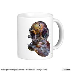 Vintage Steampunk Diver's Helmet Classic White Coffee Mug from #StrangeStore