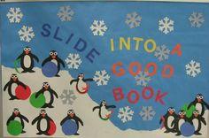 Penguin themed reading bulletin board idea for winter! http://www.mpmschoolsupplies.com/ideas/1055/slide-into-a-good-book/