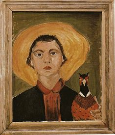 The Fascinating Self-Portraits of 20 Famous Authors - of course Flannery O'Connor's selfie has an attendant fair fowl (1953)!