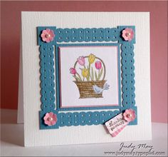 A Flower For All Seasons, Tiny Tags, Watercolor PaperPretty in Pink Striped DSP, Pearls, Dotted Scallop Ribbon border, Itty Bitty Flower & Jewelry Tag punches, Aqua Painter