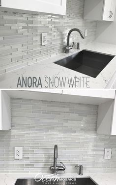 Client loved this tile for a lakefront home with all-white kitchen | Anora Snow White mosaic glass tile | metallic patterned white glass | white kitchen backsplash | white kitchen cabinets with granite | white granite kitchen | withe metallic backsplash