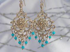 Turquoise Chandelier Gold Earrings by #AlisonStorryJewelry
