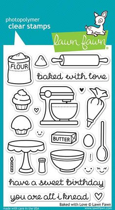 """LAWN FAWN: Baked With Love (4"""" x 6"""" Unmounted Clear Acrylic Stamp Set) This set has everything you need to bake some adorable cards and crafts! This set contains flour, butter, a mixer, cupcakes, matc"""
