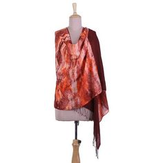 NOVICA Tie-Dyed Fringed Cotton Shawl in Redwood from India (75 CAD) ❤ liked on Polyvore featuring accessories, scarves, brown, clothing & accessories, shawls, tie-dye scarves, shawl scarves, tie dye shawl, cotton scarves and shibori scarves