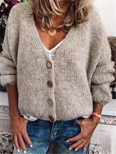Casual Cotton-Blend V Neck Cardigan-Outerwear, Beige / XL V Neck Cardigan, Long Cardigan, Long Sleeve Sweater, Sweater Cardigan, V Neck Sweaters, Cheap Cardigans, Cardigans For Women, Loose Sweater
